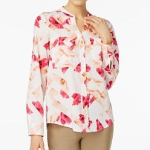 NWOT Calvin Klein Floral-Print Shirt Black White